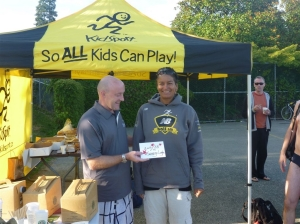 KidSport Swim-a-thon Fund Raising prize presentation with Beverli Barnes and Brent Nichols